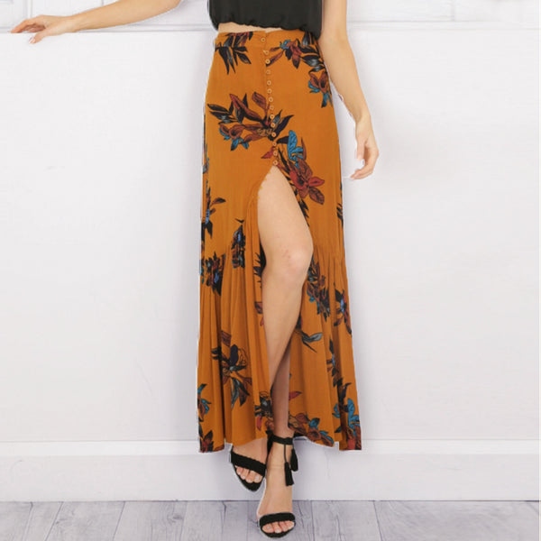 High waist boho print long skirt Women split maxi skirt floral print beach skirt Female chic vintage 2018 summer skirt