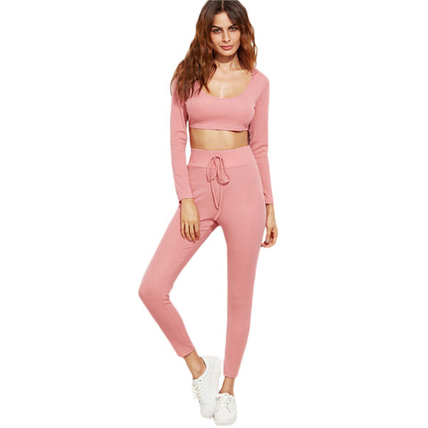 Women's Two Piece Set Top and Pants Women Clothing Set Pink Long Sleeve Crop Hooded Top With Drawstring Waist Pants