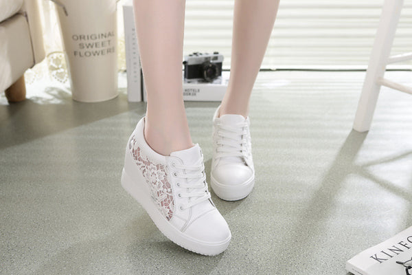 Women's 2018 Summer Spring Autum Genuine Leather Platform Female Shoes Wedges Lady Casual Shoes Mesh Lace Pumps Sneakers