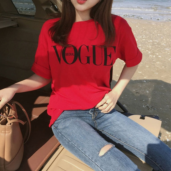 VOGUE Fashion Summer Girl Short Sleeve Tops Clothes for Women's  Letter Printed Harajuku T Shirt Red Black female T-shirt Camisas