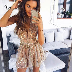 Fuedage Sexy Sequined Tassel Playsuits 2017 Cropped V Neck Short Jumpsuits Rompers Club Beach Nightclubs Party Overalls Femme