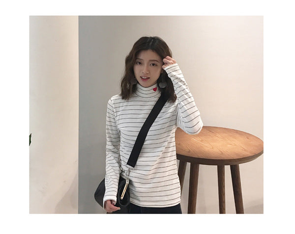 Women's Sping Style Fashion Striped Harajuku Candy Colors Hearts T Shirt Kawaii Cotton Turtleneck Casual Tee Lady Cute Tops