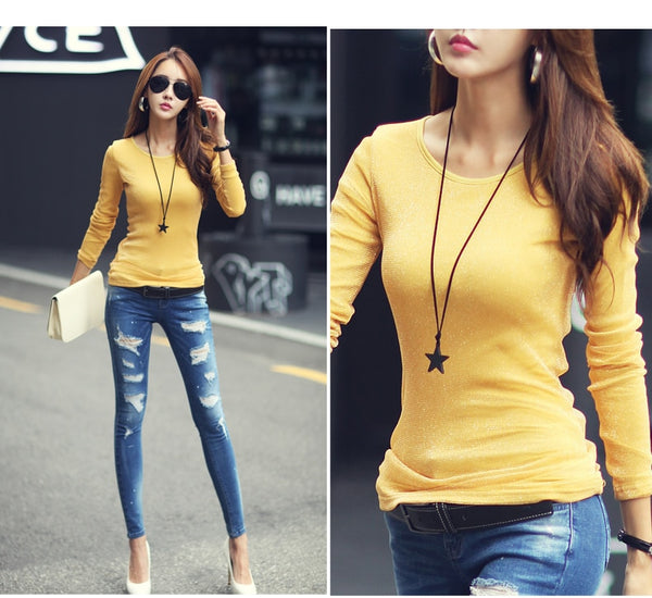2018 Women Fashion Shirts New Autumn Solid Women T-shirts Long Sleeve O-Neck Bright Wire Basic Casual Female Top Tees Elasticity