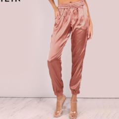 Women's Mid Waist Pants Women Satin Luxe Trainer Joggers Drawstring Waist Casual Trousers Women Loose Sweatpants