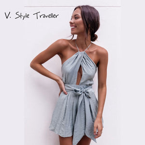 Casual Camis Playsuit Cut Out Sexy Bodysuit Women Shorts Boho Jumpsuit vestido Sash Tie Summer Style Halter Beach Resort Romper