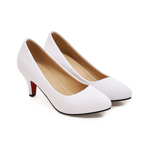 Women's High Heel  Shoes Pumps Plus size 33-43 Pointed Toe High Heels Slip-on Shallow Classics Dress Shoes Red White Black