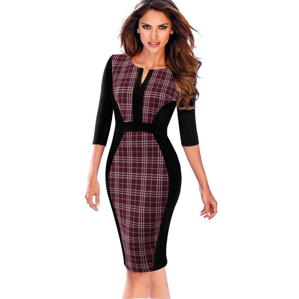 Retro Contrast Patchwork Office Dress