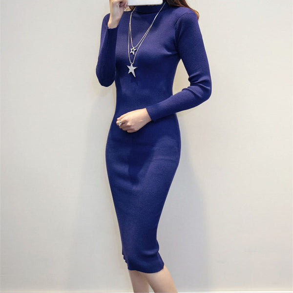 Autumn Winter Sweater Knitted Dress