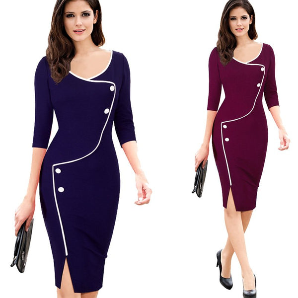 Vintage Split Bottom Deep O-Neck Knee Pencil Dress