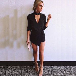 Women's 2018 Women New Fashion Summer Black Deep V Neck Romper Women Halter Short Playsuit Sexy Low-Cut Sleeveless Jumpsuit