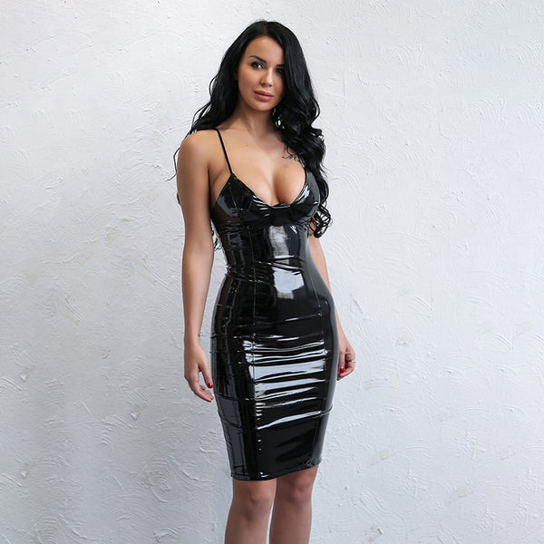 Bodycon Sheath Sleeveless Leather Dress