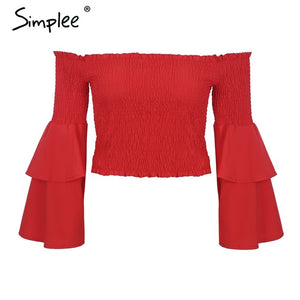 Simplee Casual off shoulder solid crop tops ruffles Butterfly sleeve backless blouse shirt femme streetwear Elastic beach blusas