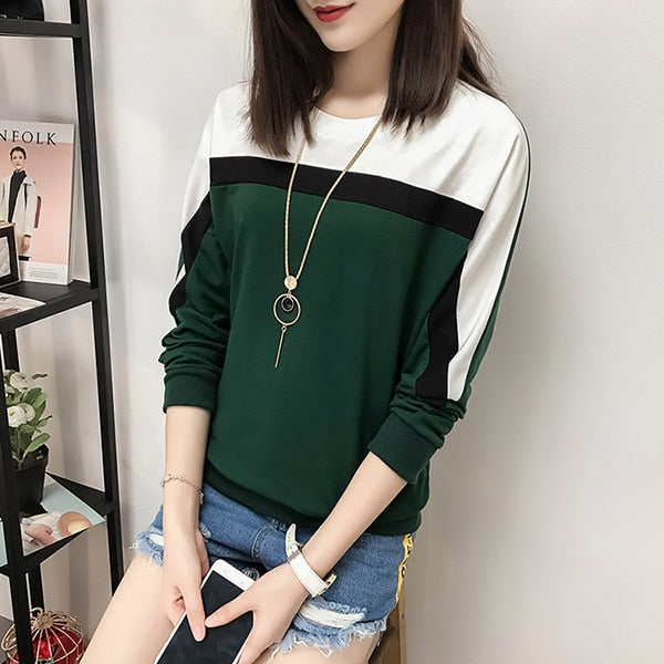 Women's Casual 2018 Autumn Winter Long Sleeve T-shirt Women Top O-neck Loose Cotton Tee Shirt Femme Plus Size