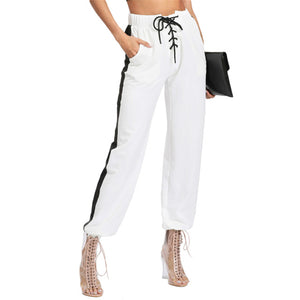 Women's Drawstring Waist Pants White Striped Mid Waist Trousers Women Pocket Lace Up Front Contrast Panel Sweatpants