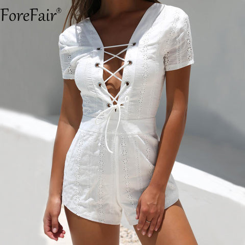 ForeFair Sexy V-Neck Backless Lace-Up Playsuit Women Short Sleeve Elegant White Lace Romper
