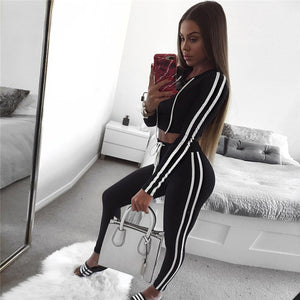 Red Black Sexy Short Crop Top two piece set Women tracksuit hooded and Long pants Causal Winter Autumn Long sleeve suit women