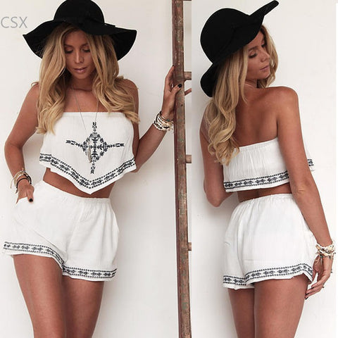 Women's Summer style Two Piece Set Strapless backless printed Irregular Crop Tops Elastic Waist Shorts set 63