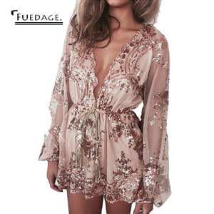 Fuedage 2017 New Women Lace Jumpsuit Deep V-neck Sequin Playsuit  Sexy Golden And Black Romper Loose Overalls Macacao Feminino
