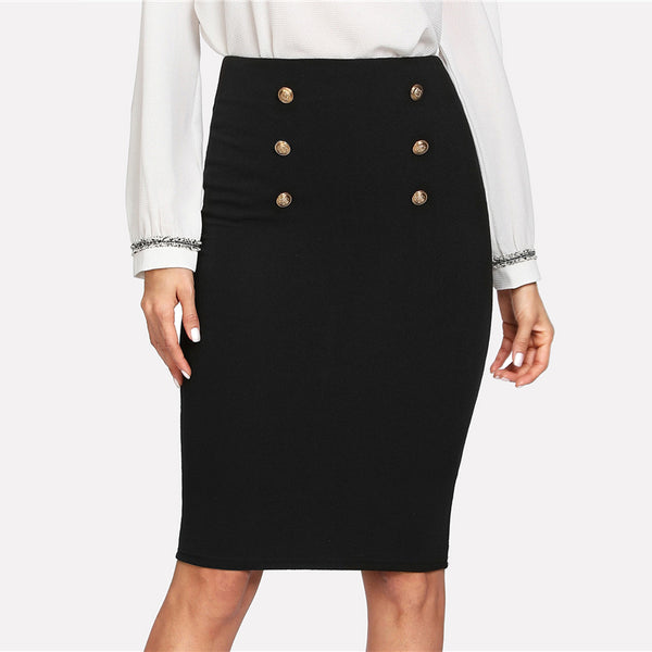 Sheinside Black Double Button Women Skirt High Waist Knee Length Solid Pencil Skirt 2018 Spring OL Elegant Skirt
