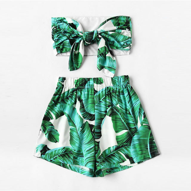 Women's Leaf Print Random Bow Tie Crop Bandeau Top With Shorts 2018 Summer Sleeveless Woman Sets Knot Tropical Two Piece