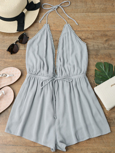 AZULINA Halter Plunge Beach Romper Deep V Neck Sexy Summer Short Jumpsuit Women Playsuit Ladies Overalls 2018 New Girls Clothes
