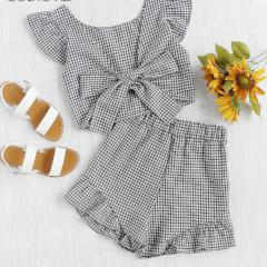 Women's  Gingham Frill Trim Bow Tie Back Top With Shorts 2018 New V Neck Short Sleeve Women Sets Ruffle Two Piece Sets