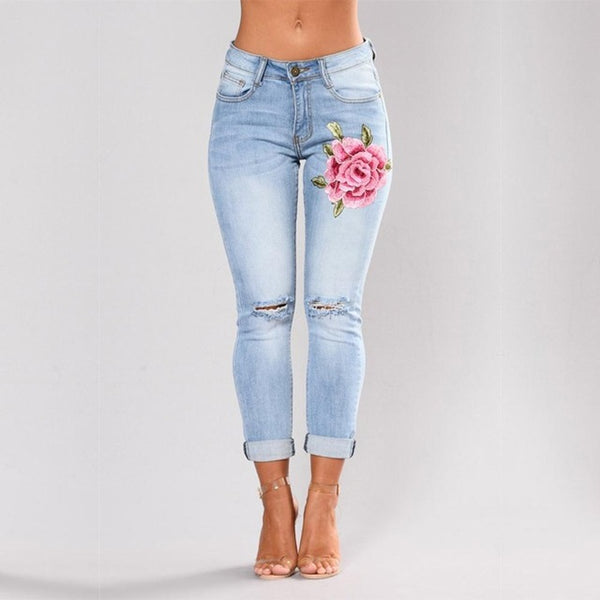 Stretch High Waist Jeans, Floral Holes Denim Pants Trousers