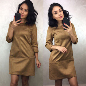 2018 Spring Autumn Winter High Waist Thicken Suede Dress Women 3/4 Sleeve O-neck Black Gray Dress robe