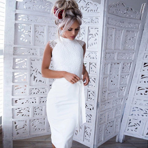 Sexy Lace Midi Party Sleeveless White Slim Elegant Dress