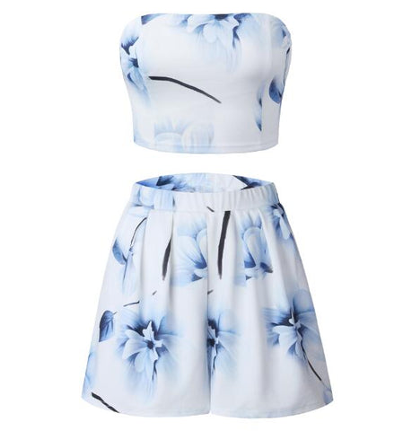 Floral Print Two Piece Set Women Strapless 2 Piece Set Women Crop Top Summer Suit Women 2018 Womens Two Piece Sets