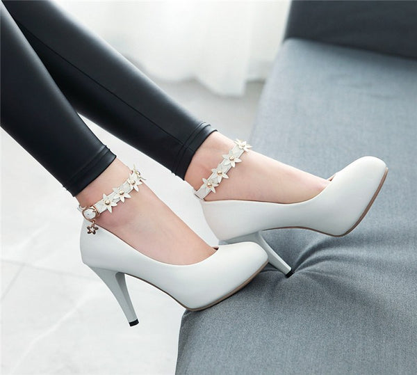 2018 Spring New Big Size 32-43 Sweet Flowers Women Shoes Ankle Strap Pumps Thin High Heels Shoes Pumps Woman