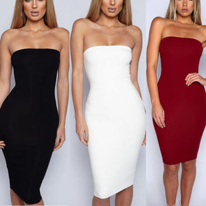 Women Sexy Sleeveless Solid Boob Tube Top Dress Evening Party Stretch Pencil Knee-Length Dresses
