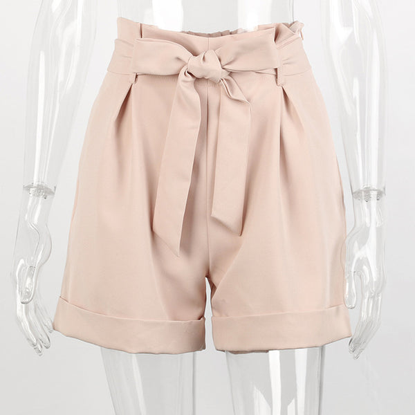 Sexy Sashes Women's Shorts 2018 Summer New High Waist Solid Slim Shorts Skirts Casual Zipper Pockets Shorts Female Hot