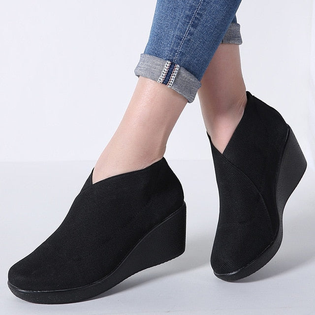 2018 Women's Shoes Slip On Round Toe Platform Wedge Pumps Women Stretch Fabric Leather High Heels Casual Shoes Creepers