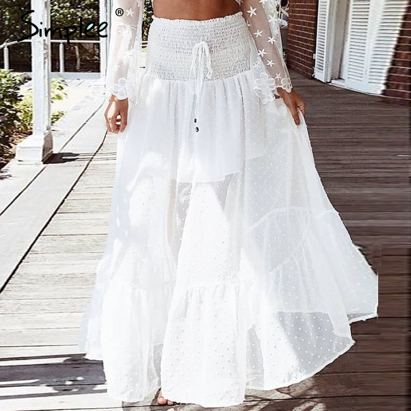 Women's Mesh dot long skirt Elastic smocking white lace skirt summer Sexy transparent hight waist maxi skirt 2018