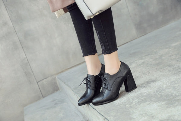 Women's New 2018 New fashion lace up women pumps pointed toe thick high heels spring office lady dress shoes