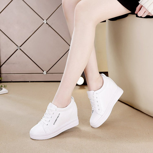 2018  New Fashion Spring Autumn Winter Wedges Casual Shoes Sneakers Lace-up High heel Platform shoes Increased white Black