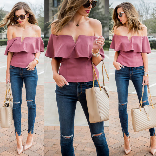 Fashion Women Casual V-Neck Off Shoulder Short Sleeve Cotton Summer Loose Tops Blouse Purple Pink