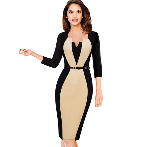 Elegant Optical Illusion Vintage Slim Work Office Dress