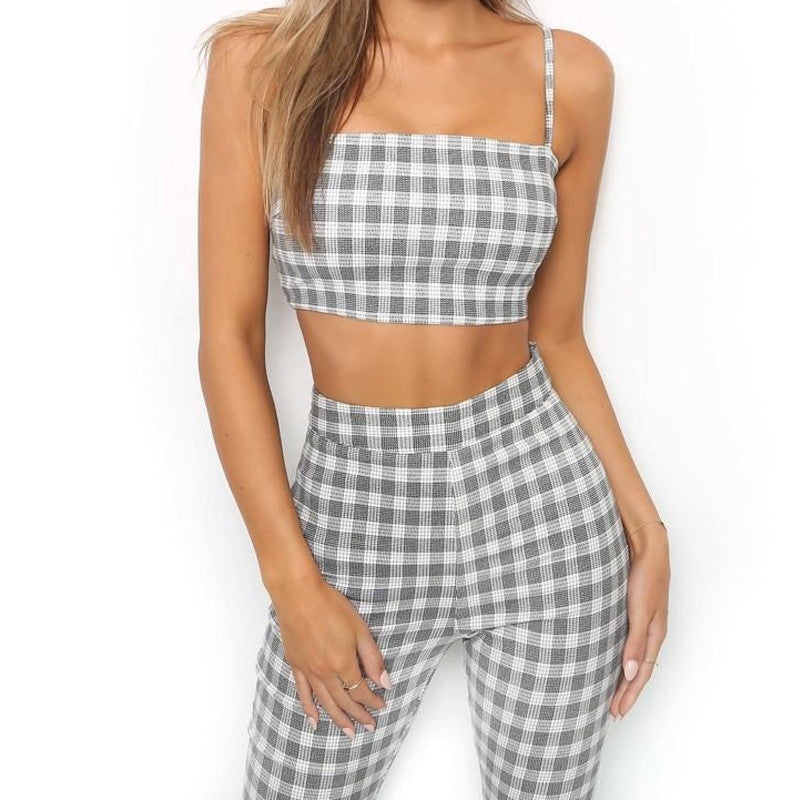 2018 Plaid Two Piece Set Tracksuit Women Sexy Casual Sleeveless Sweatsuits For Women Set Crop Tank Top And Flare Pants Leggings