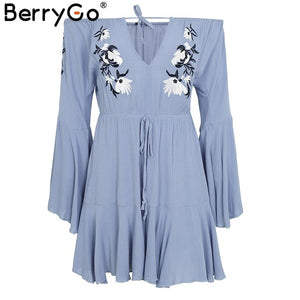 BerryGo Off shoulder floral embroidery jumpsuit romper women Sexy v neck  drawstring short playsuit Casual beach summer jumpsuit