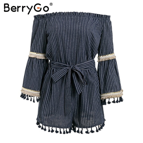 BerryGo Classic stripe folk boho romper women jumpsuit Sexy tassel off shoulder overalls flare sleeve beach summer playsuit