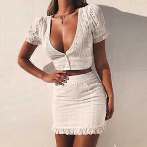 Women's White Two Pieces Set Women Solid Tight Crop Top Sexy Package Hip Skirt Women Clothing