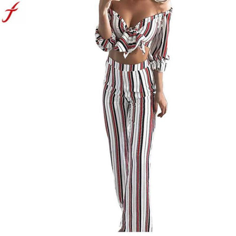 2018 Summer Hot 2 Two Piece Set Women Long Sleeve  Stripe Shirt Top Blouse + Long Pants Two-Piece Outfit  conjunto feminino#4