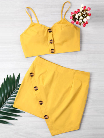 Women's  Crop Cami Skirt Two Piece Set Summer Buttons Solid Spaghetti Straps Short Tops High Waist Skirts Women Sets 2018 New Set