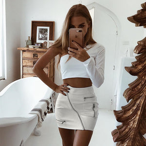 Women's  White Korean Style Skirts Women's Street Style A Line Skirt Summer 2018 High Waist Vogue Steampunk Leather Short Skirt