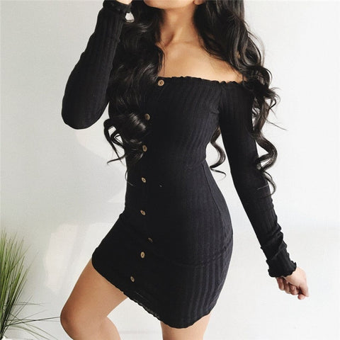 Trendy Women's  dress Long Sleeve solid Button Off Shoulder Evening casual Party cotton Mini Dresses one pieces