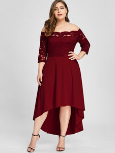 Plus Size Off Shoulder Dip Hem Lace 3/4 Length Sleeves Dress