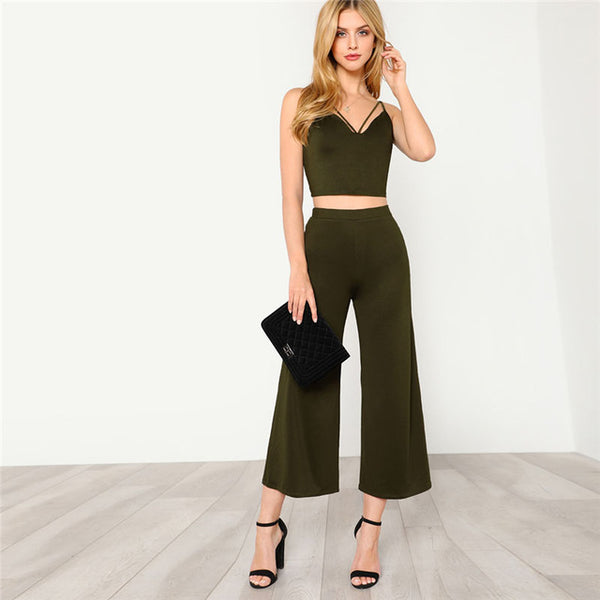 Women's  Strappy Neck Cami Top & Pants Two Piece Set 2018 Summer Deep V Neck Plain Women Sets Army Green Sleeveless Twopiece