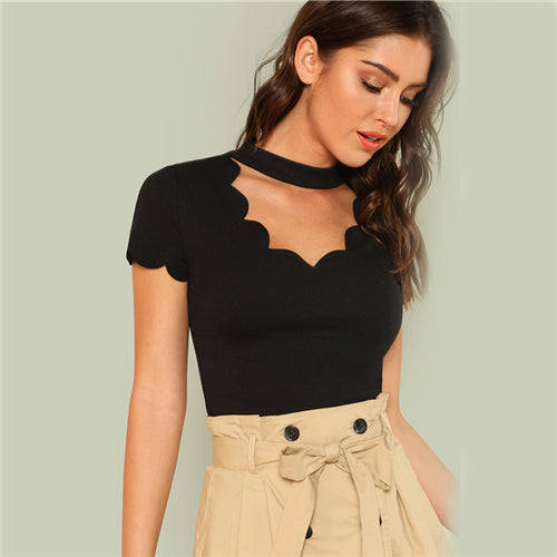 Ladies Black Elegant Mock Neck Scallop Trim Tee Cut Out V Collar Short Sleeve Solid Tee Summer Women Weekend Casual T-shirt Top
